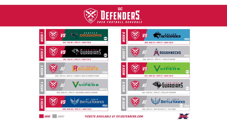 Defenders Schedule