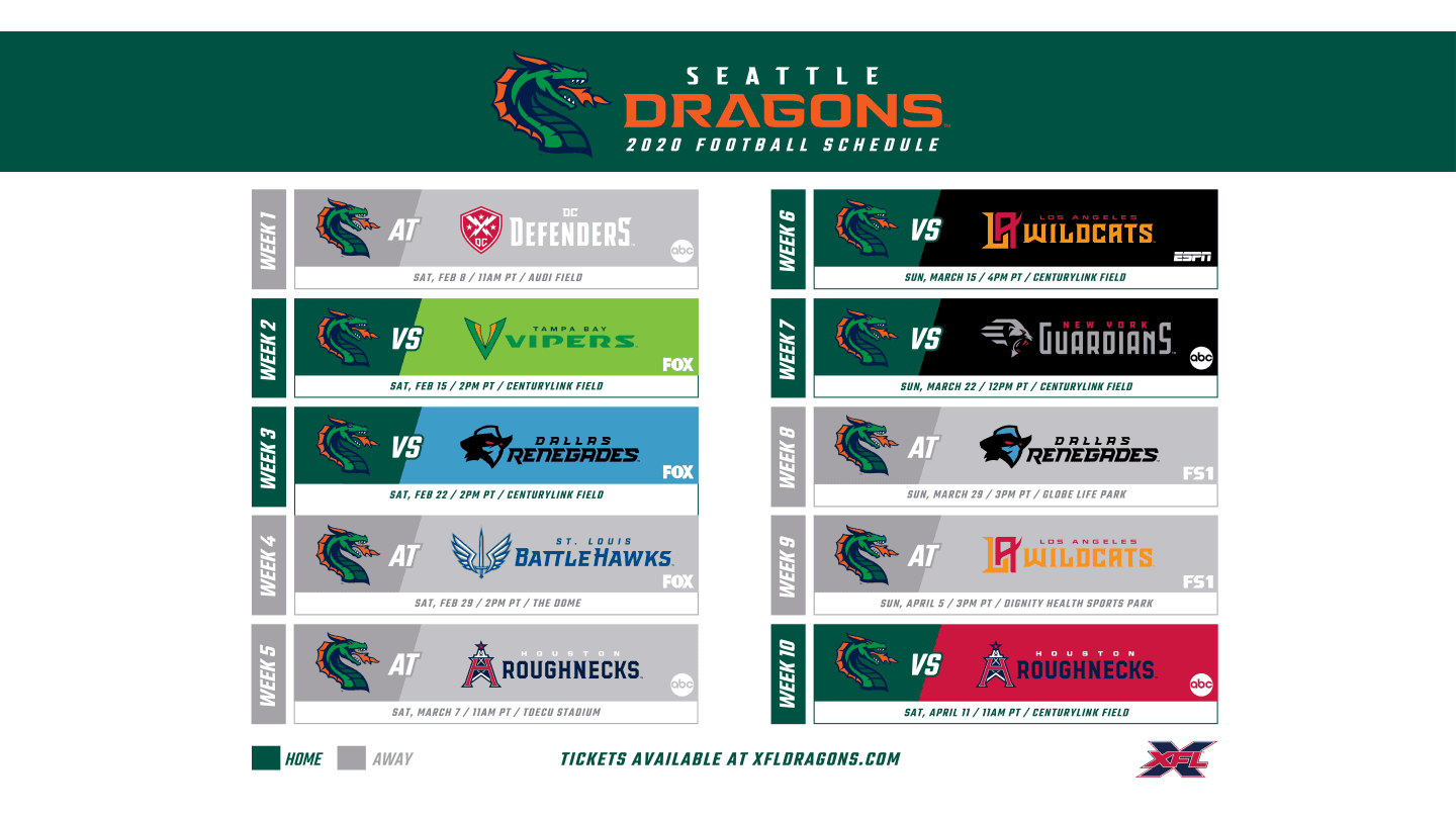 Dragons Schedule