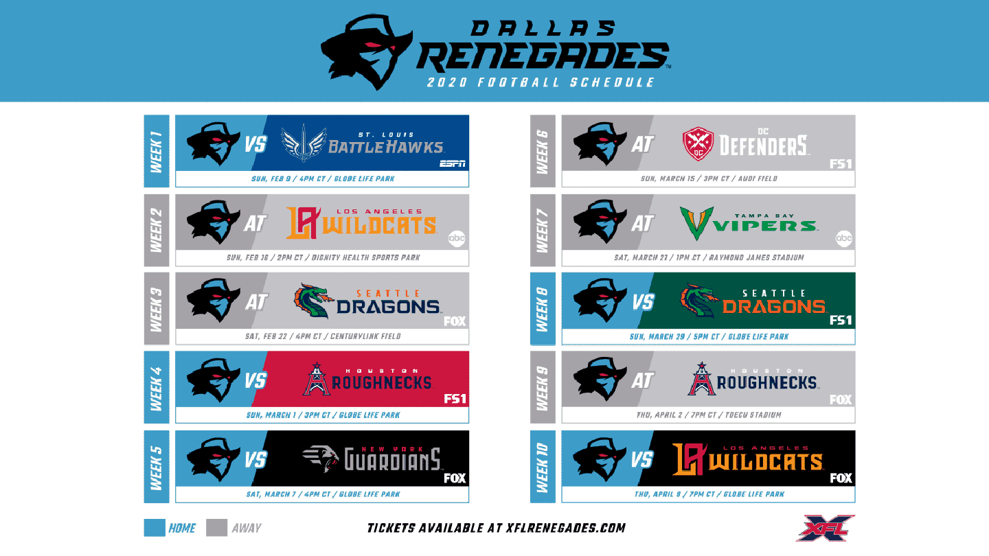 Renegades Schedule